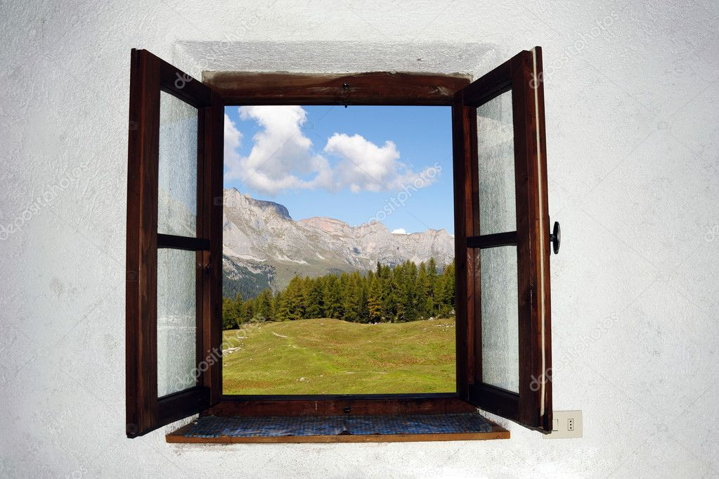 Open window and beautiful picture outside