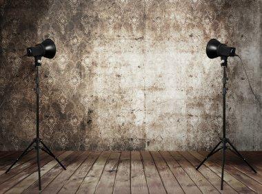 Photo studio in old grunge interior