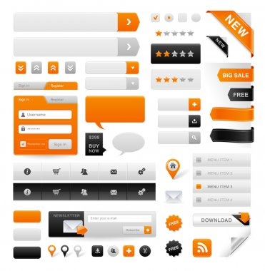 Large set of icons, buttons and menus for websites stock vector