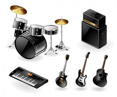 Vector icon set of modern electric music instruments clip art vector