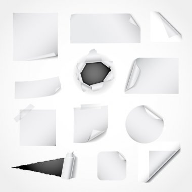 Paper design elements - curled and ripped paper, notes, stickers and corners clip art vector