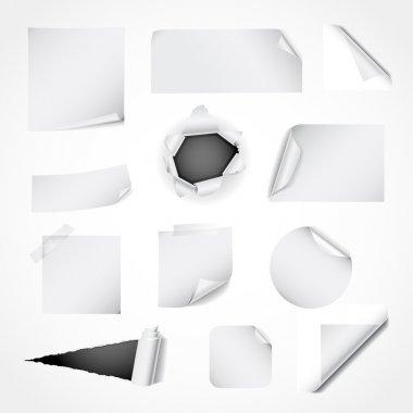 Set of white paper design elements