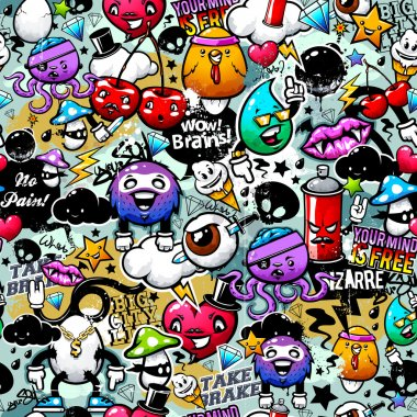 Graffiti seamless texture with bizarre elements and characters. stock vector