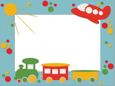 Children photo frame train and plane