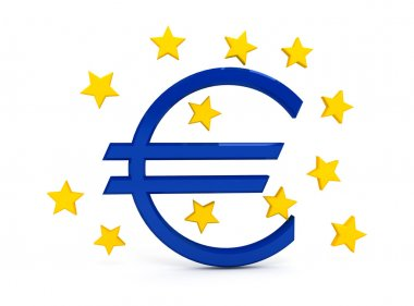Euro sign over white background. computer generated image stock vector