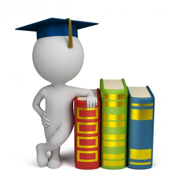 3d small - graduate and books