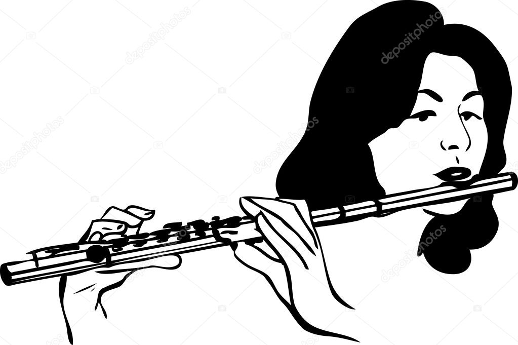 flute clipart black and white - 800×533
