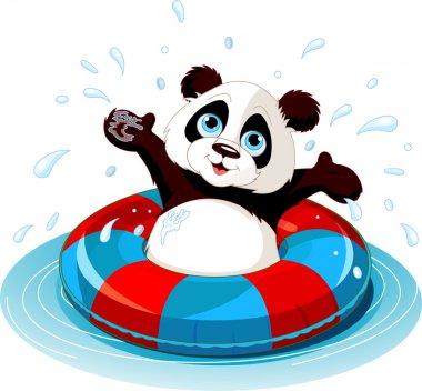 Summer fun Panda swimming stock vector