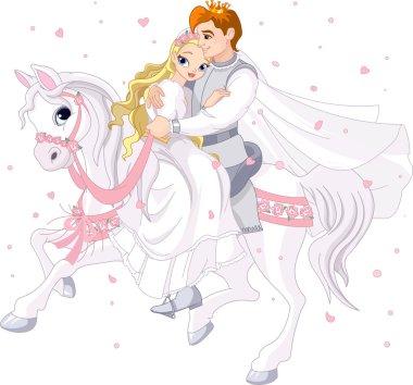 Romantic couple on white horse