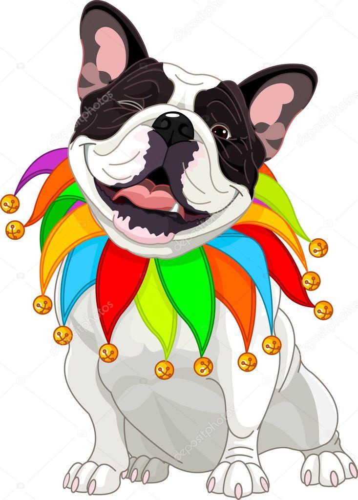 French bulldog wearing a colorful collar