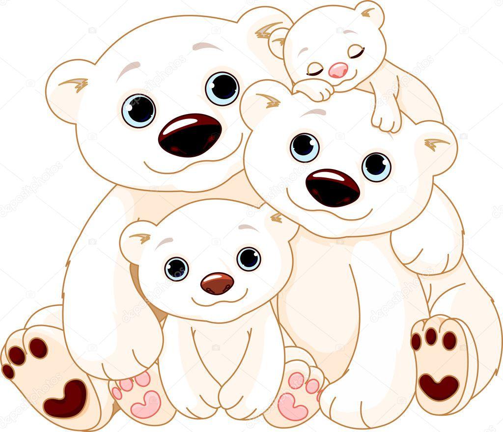 Big Polar bear family