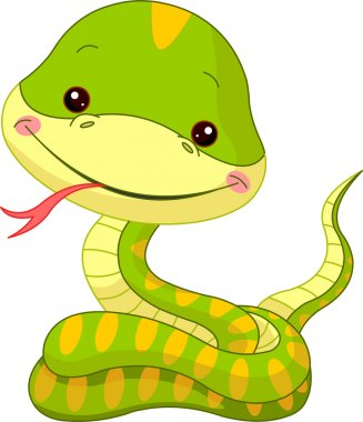 Fun zoo. Illustration of cute Snake stock vector
