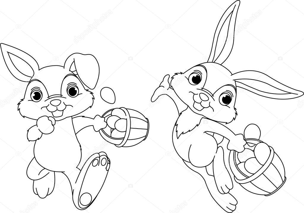 Yumurta Boyama Sayfası Saklanıyor Tavşancık Stok Vektör
