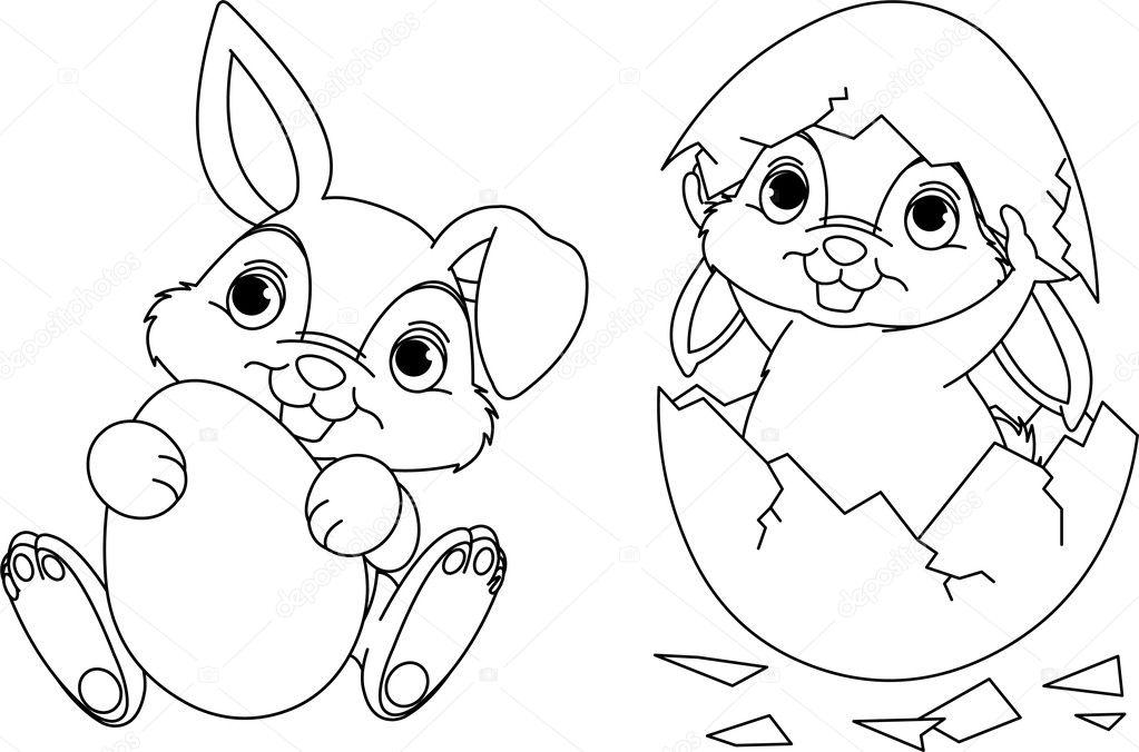 Pagina Da Colorare Di Pasqua Coniglietto Vettoriali Stock
