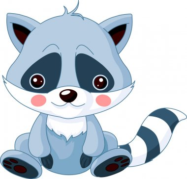 Fun zoo. Illustration of cute Raccoon stock vector