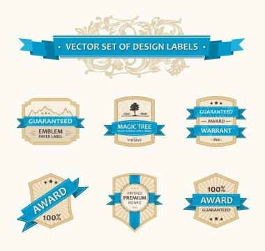 Vector set vintage ornate decor elements. ornaments ribbon blue