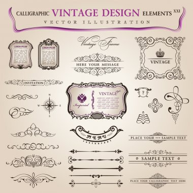 Vector set calligraphic design elements and page decoration, col