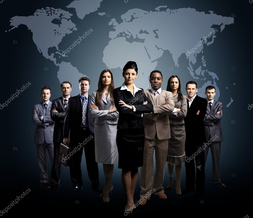 Business team with world map