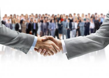 Shaking hands and business team stock vector