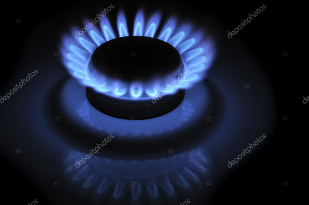 Blue Flames of Gas in the Dark