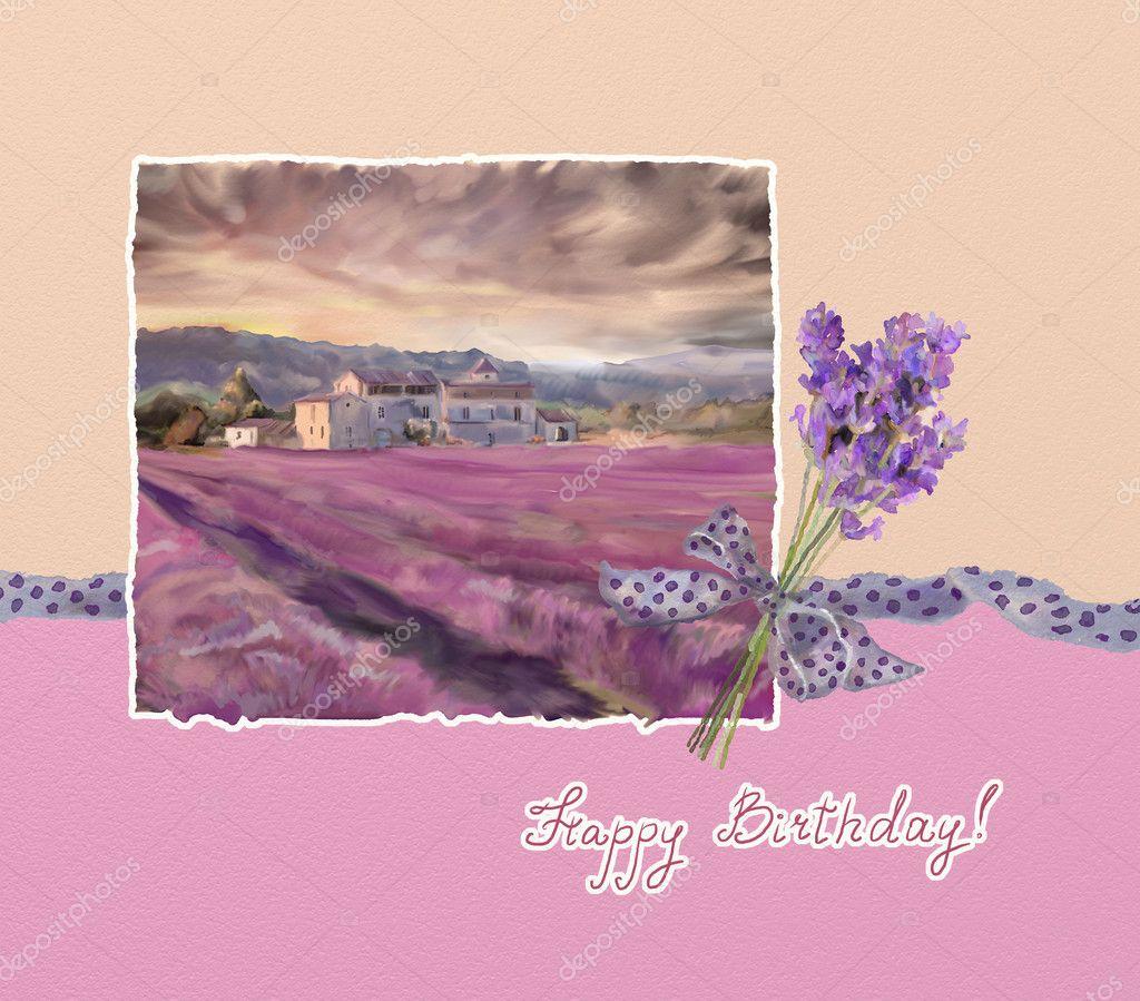 Открытка с днем рождения с лавандой