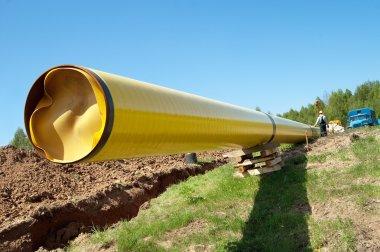 Gas pipelines against blue sky
