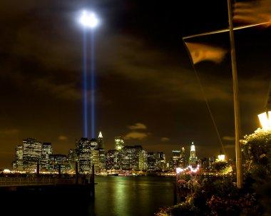911 WTC Memorial Light Tribute at Manhattan downtown