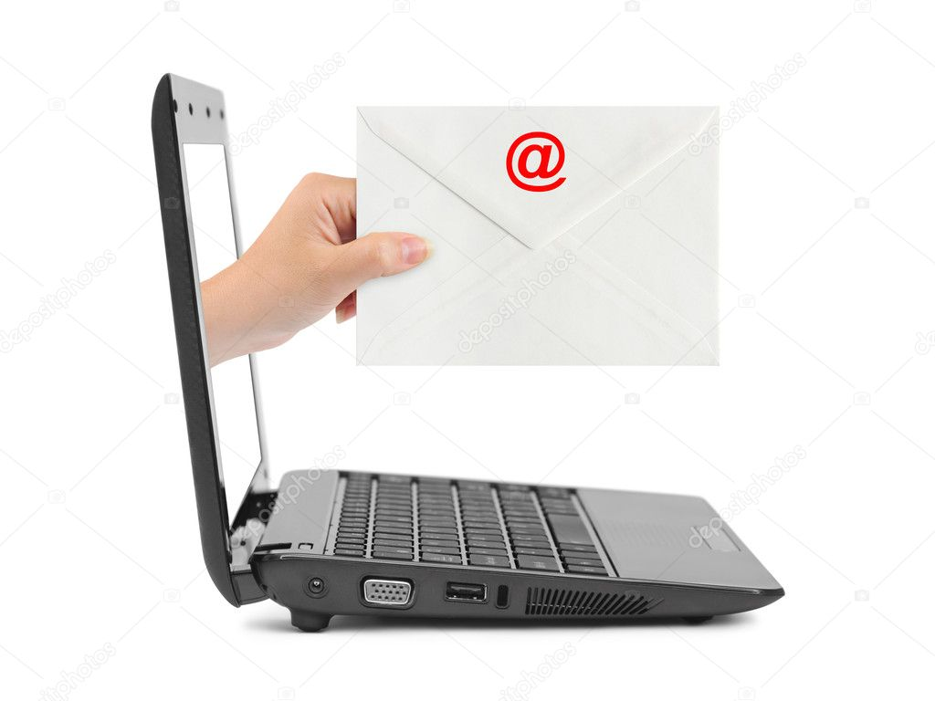 Hand with letter and notebook