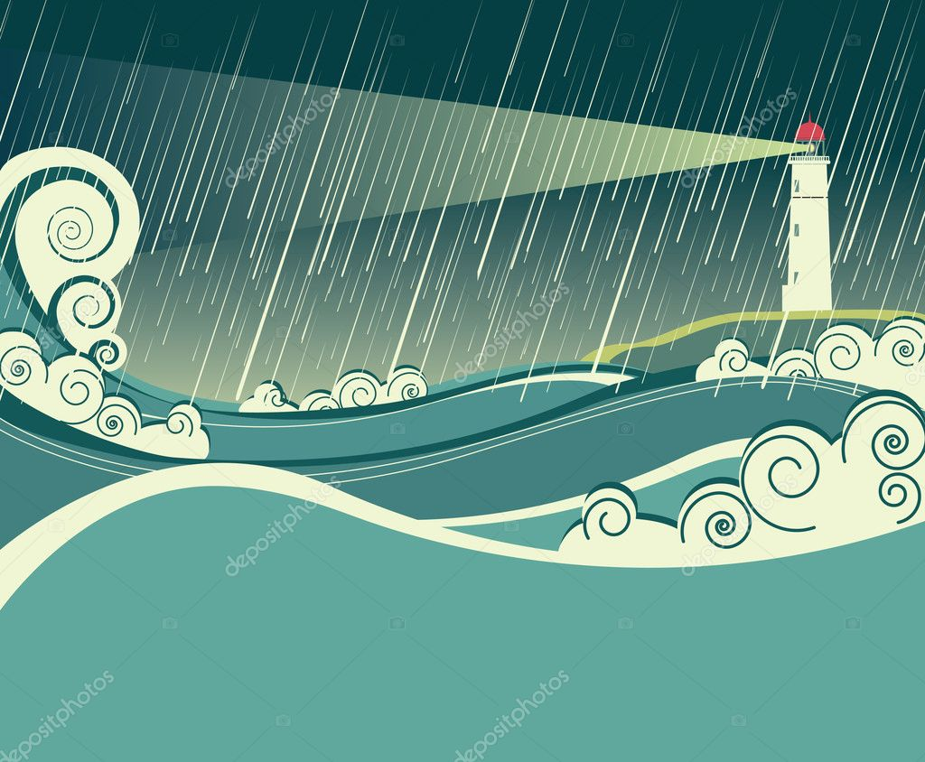 lighthouse and ocean in storm night