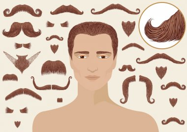 Mustaches and beards for man.Big collection isolated for design