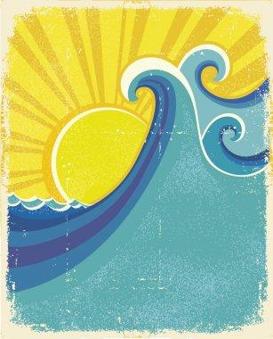 Sea waves poster. Vintage illustration of sea landscape on old p