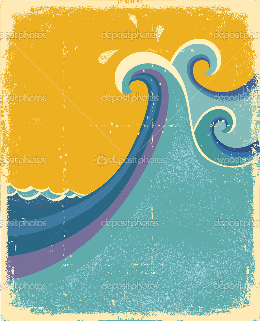 Sea waves poster. Vintage symbol of blue sea waves