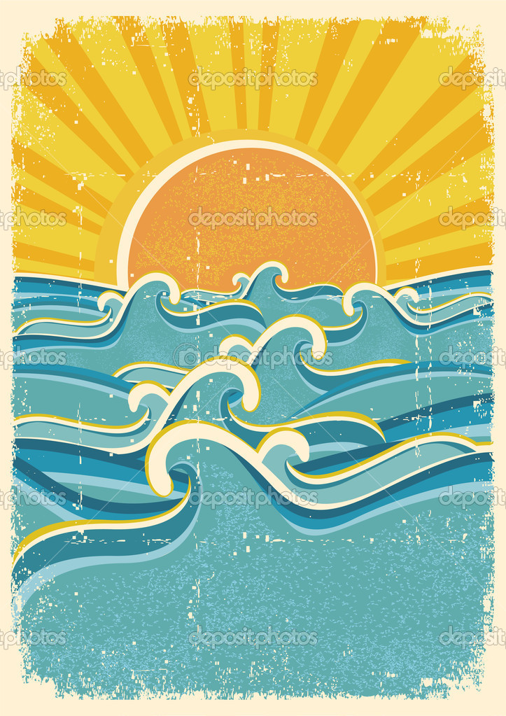 Sea waves and yellow sun on old paper texture.Vintage illustrati