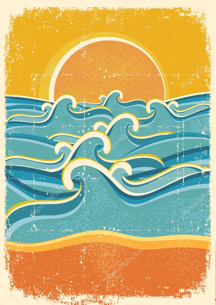 Sea waves and yellow sand beach on old paper texture.
