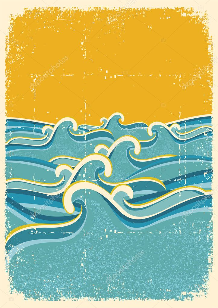 Sea waves horizon on old paper texture.Vintage illustration