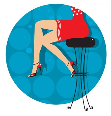 Woman legs with fashion shoes sitting on bar stool.Color illustr