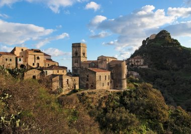 Medieval village of Savoca in Sicily, Italy, at sunset