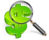 Zvětšovací sklo  zelený dolar