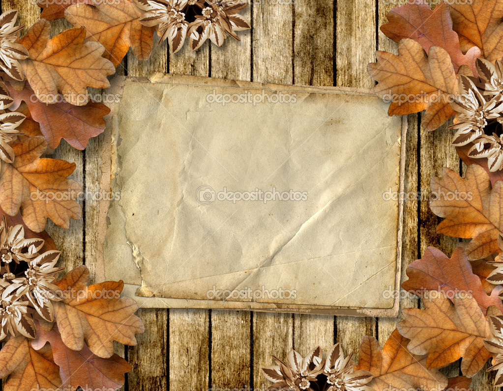 autumn frame of oak leaves on a grange wooden background u2014 stock