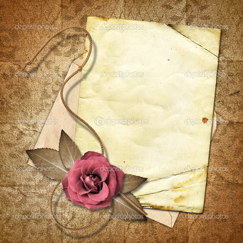 old paper with a rose on the vintage background stock. Black Bedroom Furniture Sets. Home Design Ideas