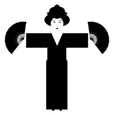 Japanese girl silhouette on white background