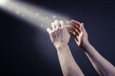 Prayer raised hands stock vector