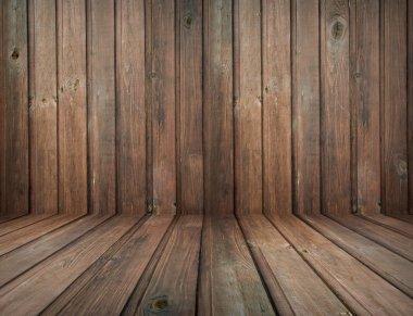 Dark vintage brown wooden planks interior with artistic shadows