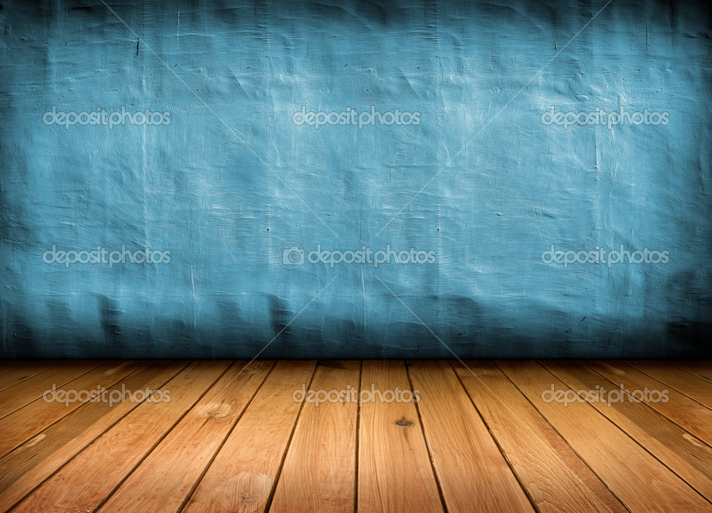 Dark vintage blue room with wooden floor and artistic shadows ad