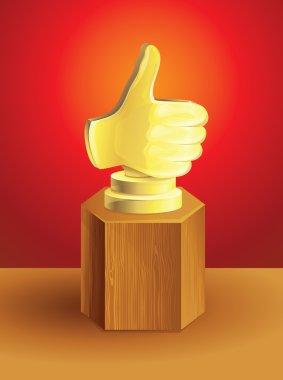 Golden best choice award on wooden pedestal