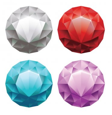 Set of round diamonds in 4 colors