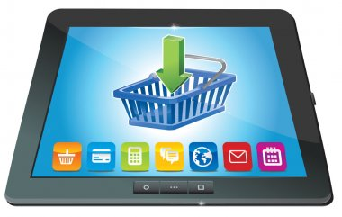 Tablet pc with shopping cart icon