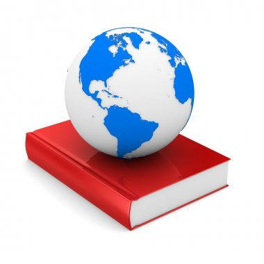 Closed book and globe on white background. Isolated 3D image