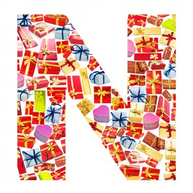 N Letter - Alphabet made of giftboxes