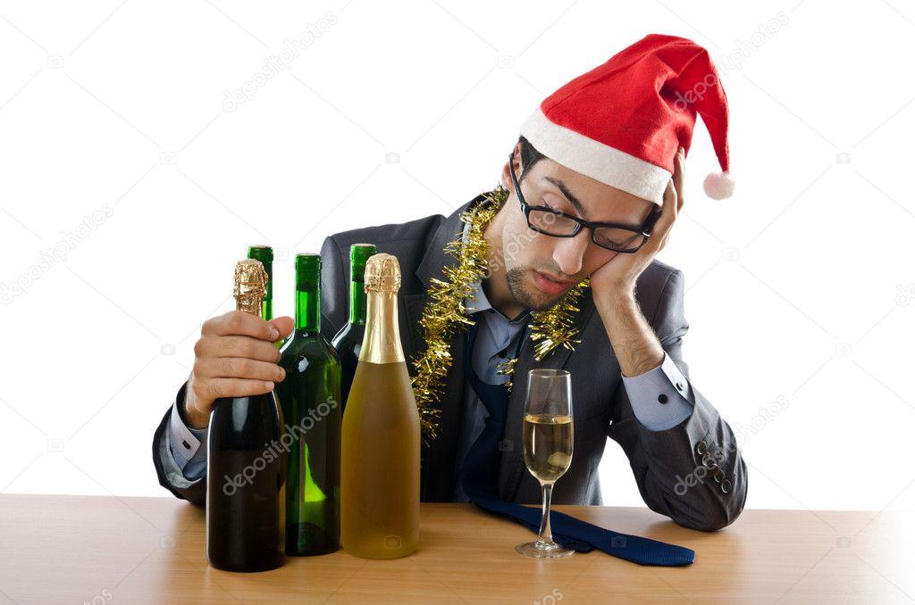 Drunken businessman after office christmas party